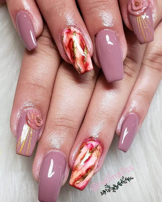 Dusty Rose Sculptured Marble Manicure