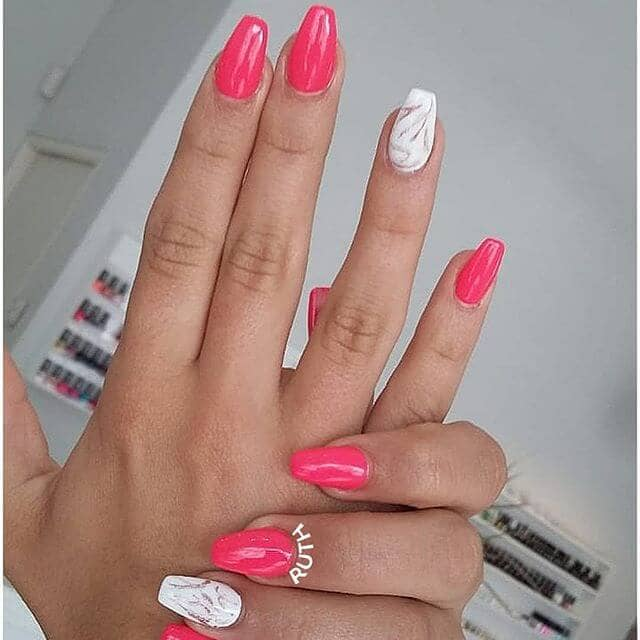 Medium Length Neon Coral Nail Design