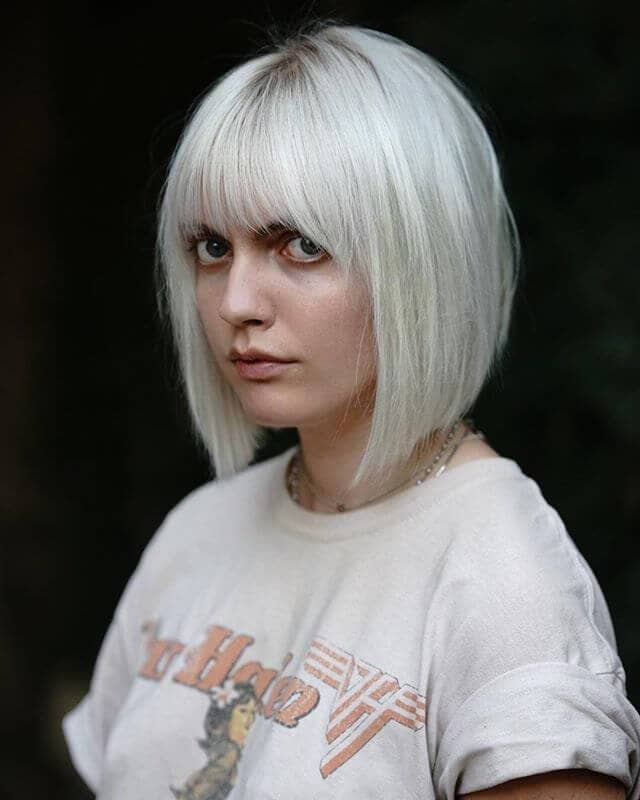 Daring Stark White Bob and Bangs