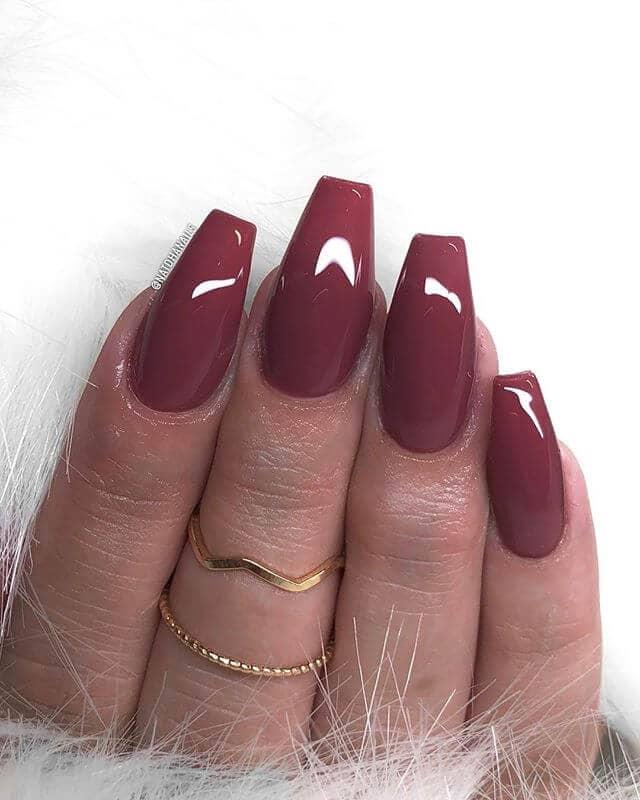 Fierce and Feminine Muted Burgundy Nails