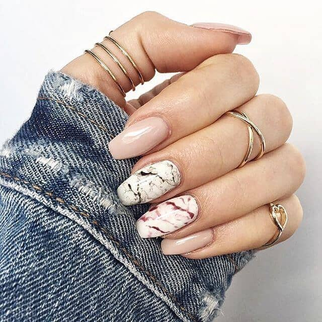 Hippie Boho Granite Marble Nail Ideas