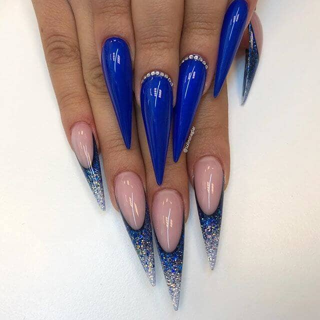 Mix-and-Match Sapphire Stunner Stiletto Nail Art