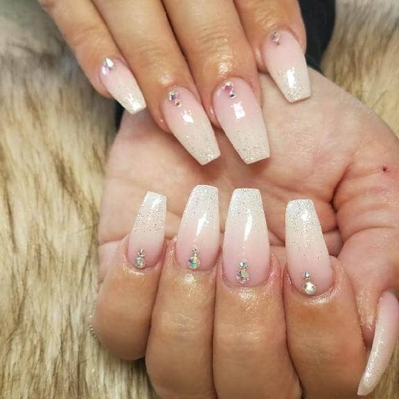 White Ombre Nails with Single Diamond Nails