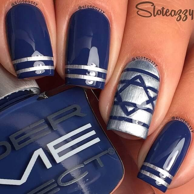 Blue and Silver Six-Pointed Star Design