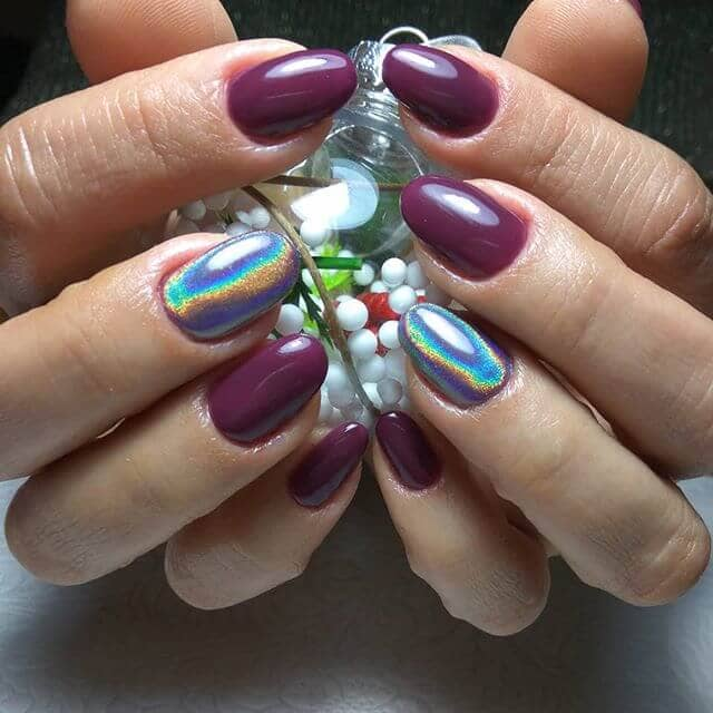 Plum Burgundy and Holographic Accents