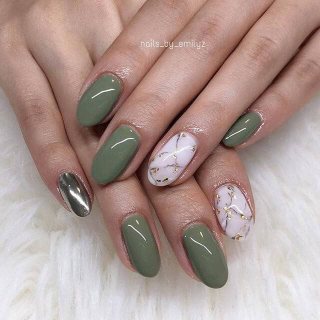 Light Green Manicure with Chrome Accent
