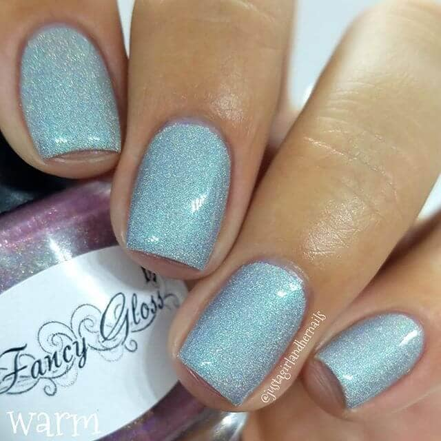 Sweet Silvery Blue Glitter Art Nails