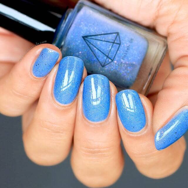 Speckled Azure Glittery Blue Nail Designs