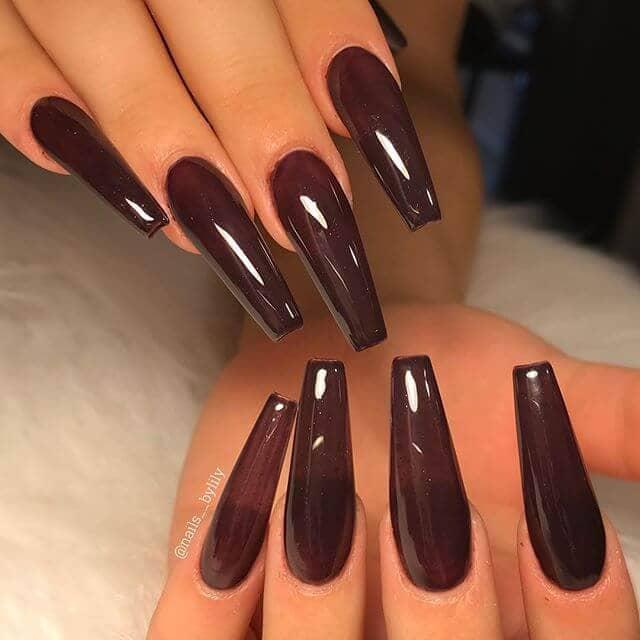 Ultra Long Chocolate Burgundy Nails