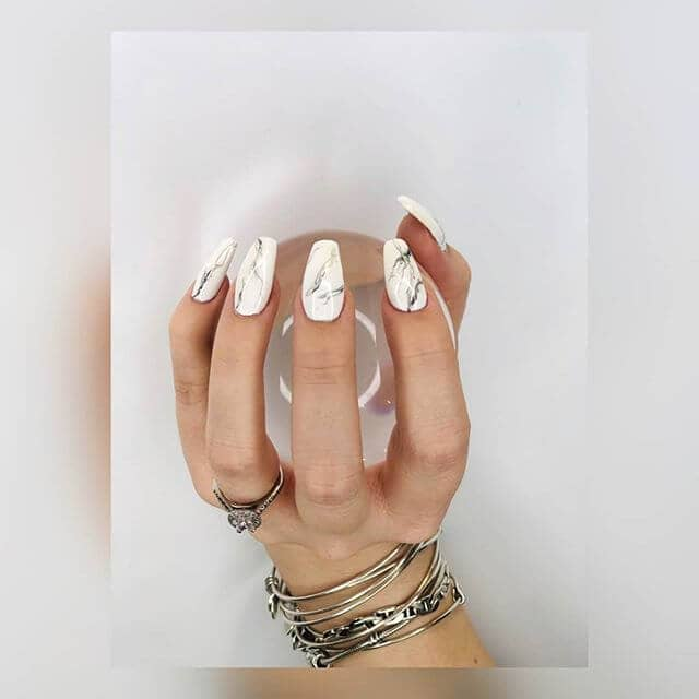 Completely Marbled Manicure with Squared Nails