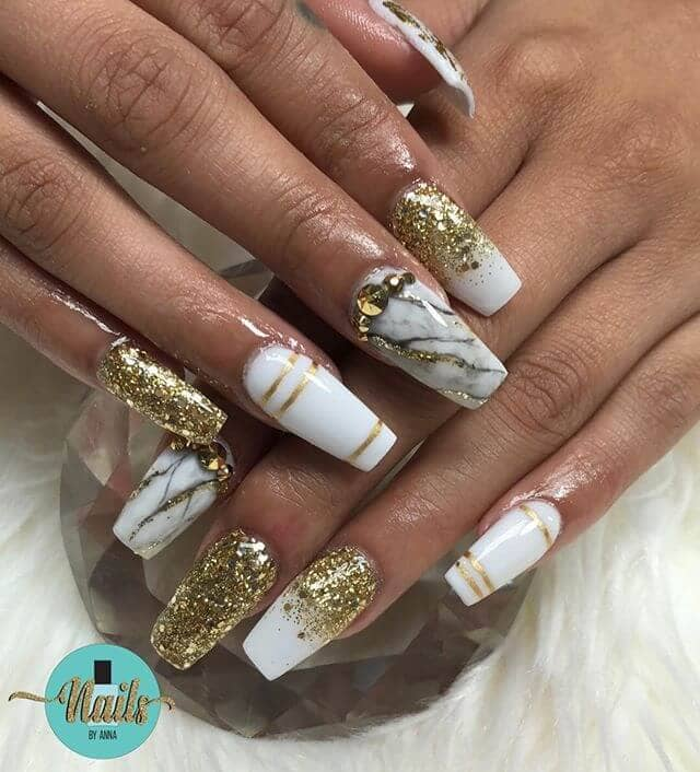 White and Gold Glitter Ombre Nail Art
