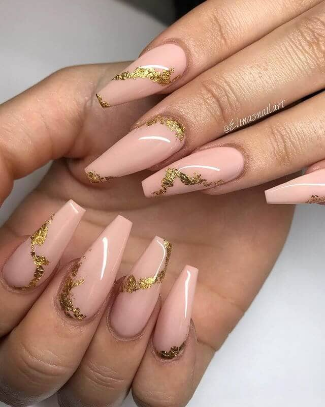 Party Perfect Gold Foil Nails