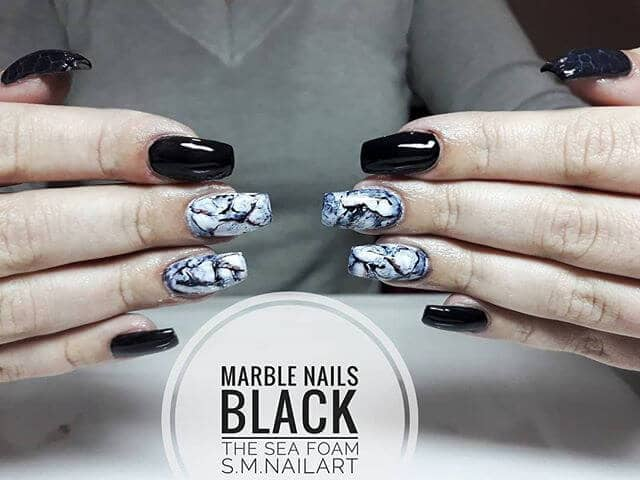 Dark Squared Nail Art with Marbling