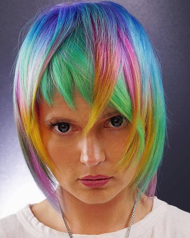 Wild and Crazy Angular Rainbow Hairstyle