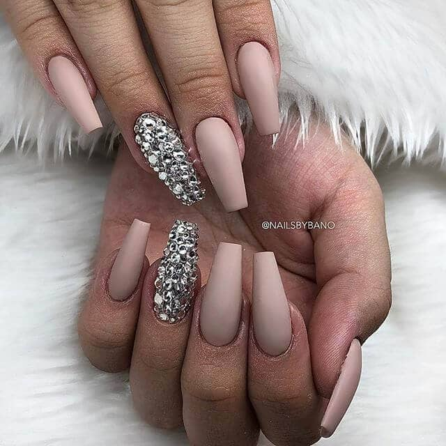 Nude Toned Ballerina Nails with Diamonds