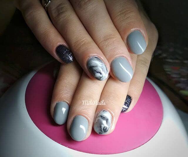 Short Light Grey Manicure with Gunmetal Glitter