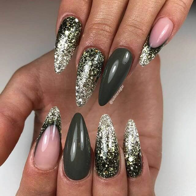 Black & Gold with Glitter Gradient Effect