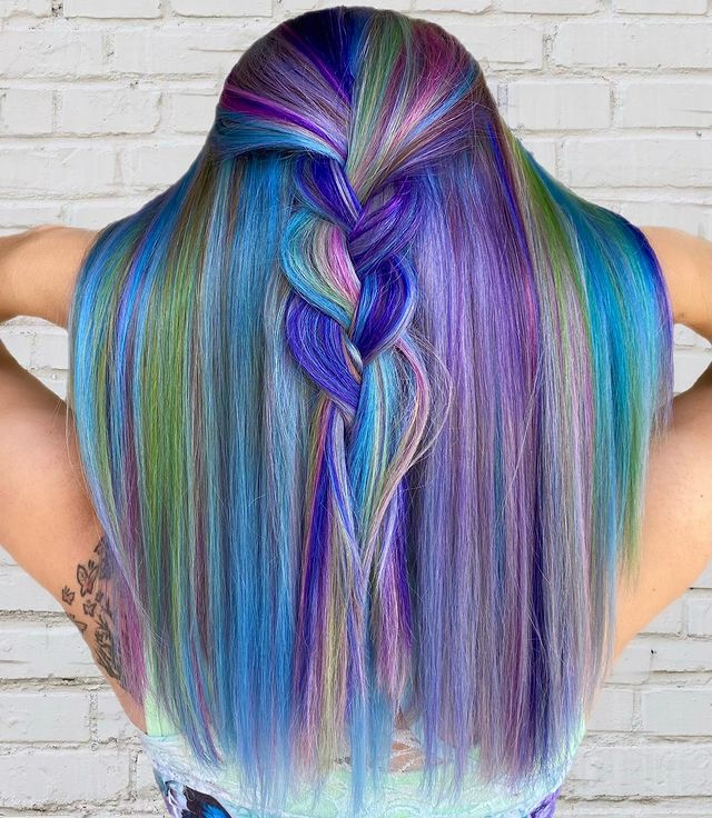 Cool Blue, Green, and Purple Hairdo