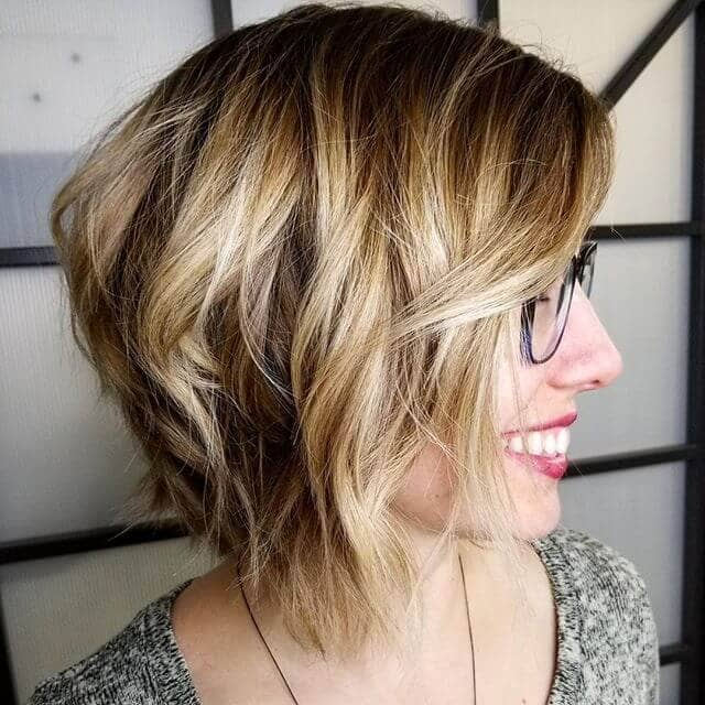 Angled Blond Bob with Chunky Shag Layers