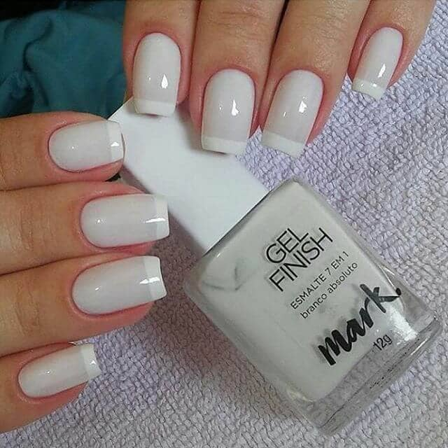 Classic Two-Toned White French Manicure