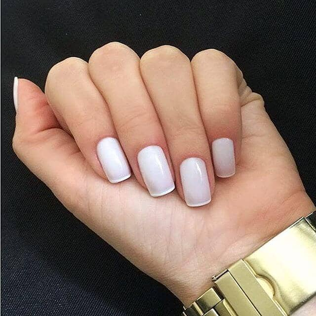 Squared off Bright White French Tips