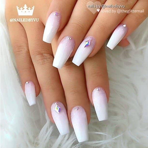 Fairy Tale Sparkling White Nail Art
