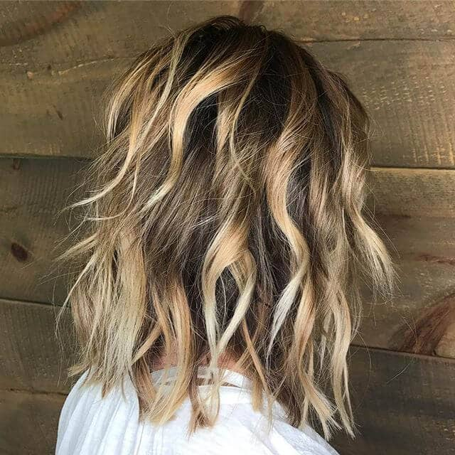 Chunky Blond Highlights with Blunt Cut Sections