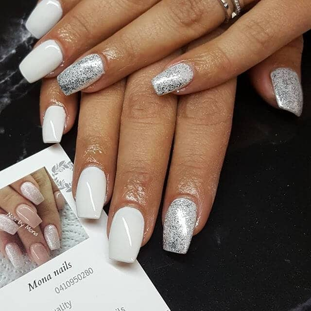 Bright and Bold White and Silver Foiled Nails