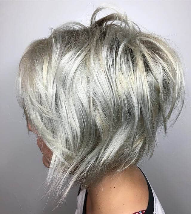 Stunning Silver A-line Shaggy Bob and Bangs