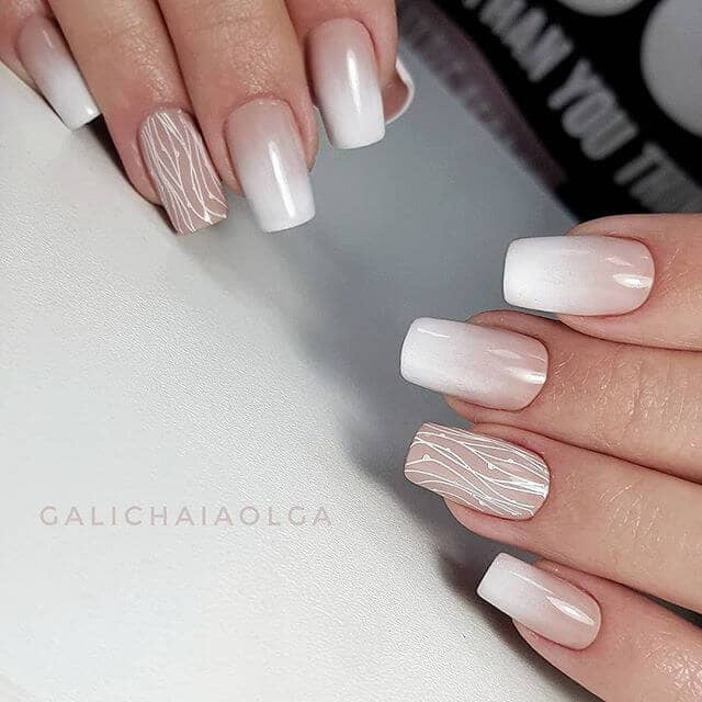 Woodland Inspired White Nail Designs