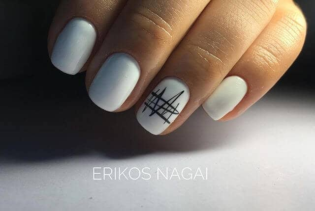 White Natural Nails with Cool Black Accent