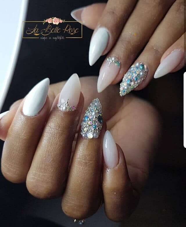 Glammed Out White Rock Princess Nails