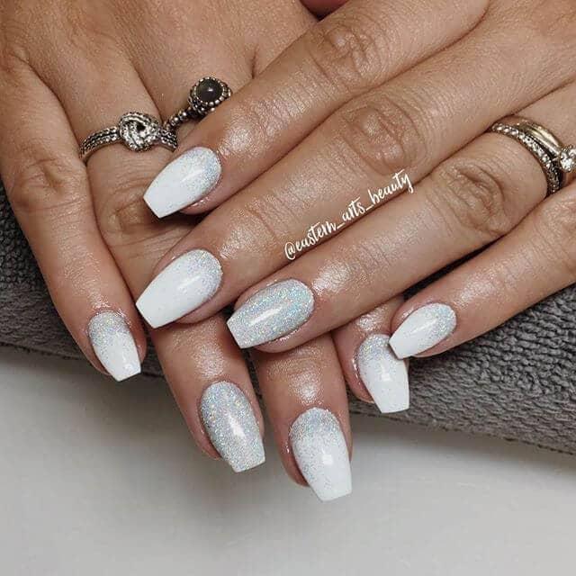 Sparkling White Glitter Nail Art