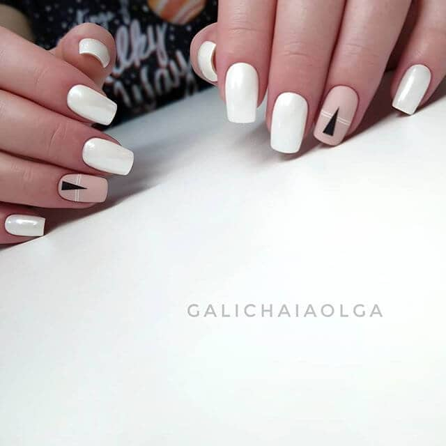 White Nails with a Cool Modern Accent
