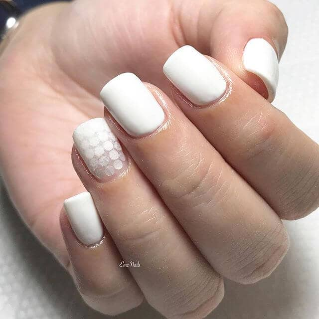 Simple White Nails with Circular Accents