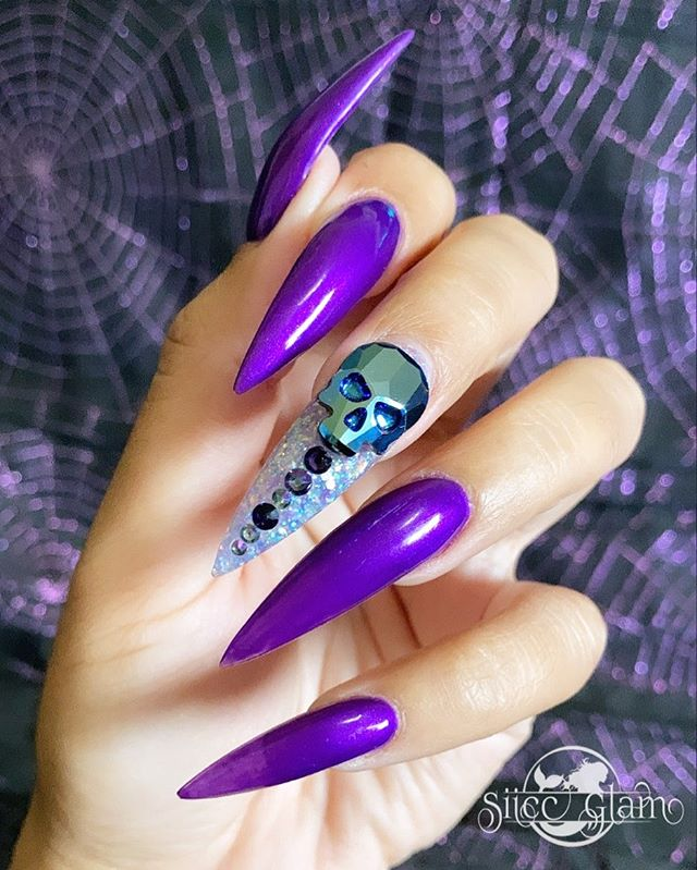 Neon Purple Skull Stiletto Nails