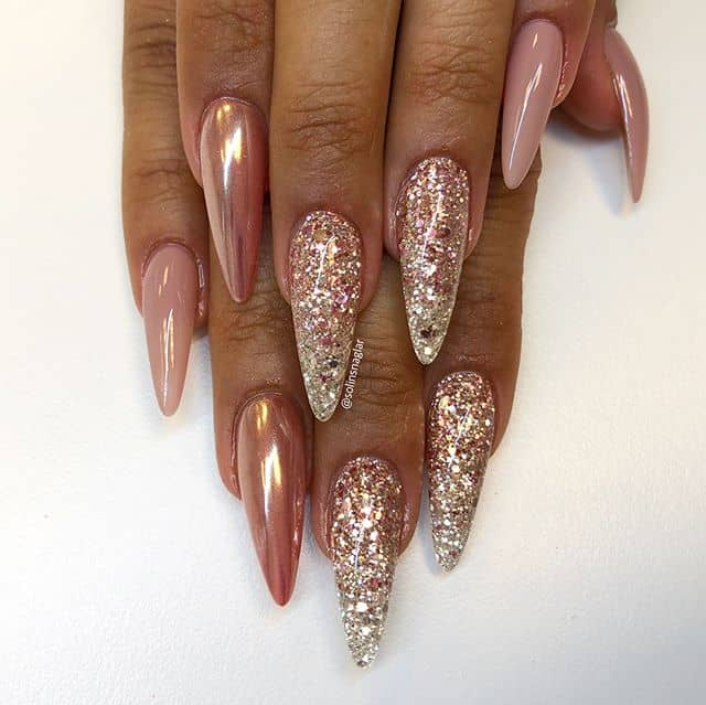 Pretty in Rose Gold, Glitter, and Nude
