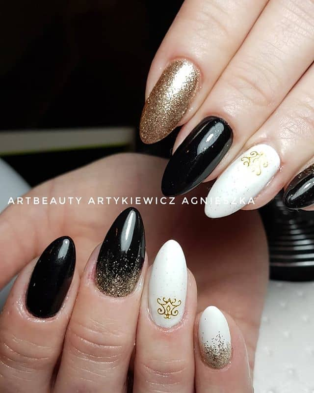 Black and White Nails with Gold Accents