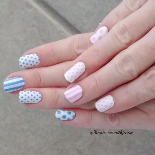 Polka Dots-Stripes Nail Design
