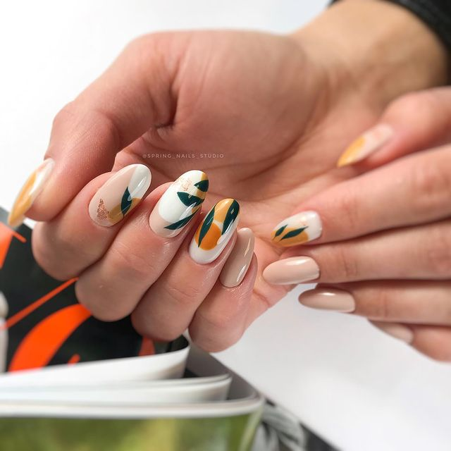 Bright Spring Curved Nail Design