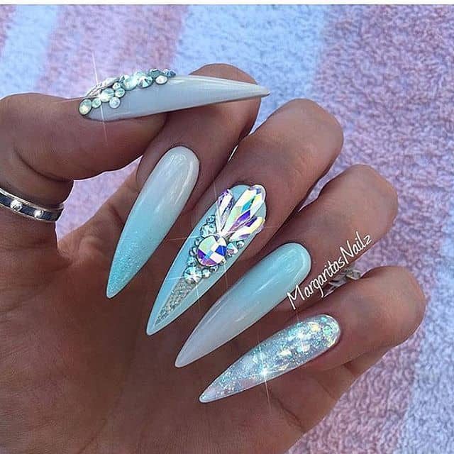 Baby Blue Nails with Crystallized Mermaid Flair