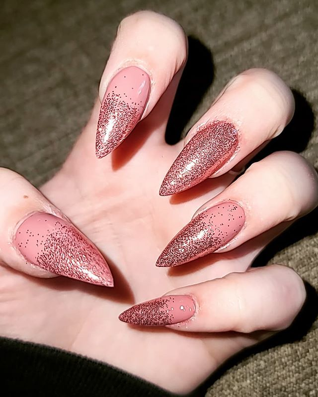 Pale Pink Soft Glitter Nails