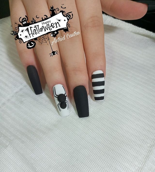 Matte Black-White Spider Halloween Nails
