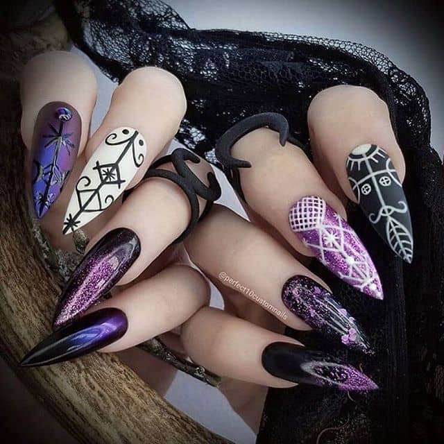 Mix-and-Match Macabre Purple Nail Designs