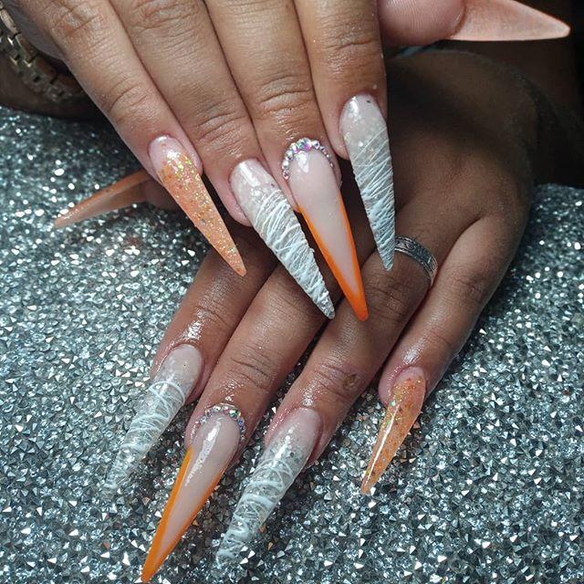 Orange Glitter Gemstone Stiletto Nails