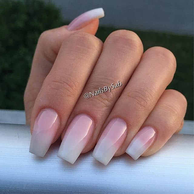 Pretty Pink Nails with a White Tip