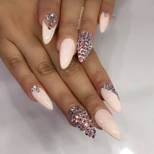 Soft Pink Nails with Gem Accents
