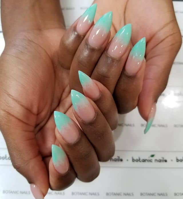 Blue Flame French Manicure with Clear Cuticles