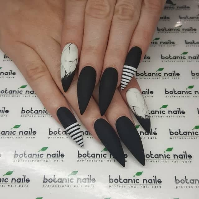 Spooky Black and White Nails