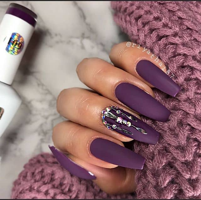 Bejeweled Bold Eggplant Ballerina Nails